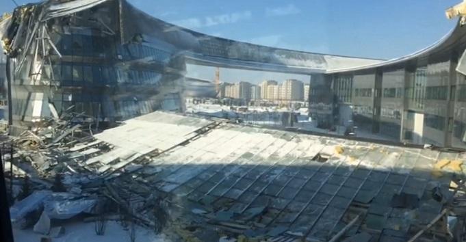 На территории ЭКСПО-2017 в Астане обрушилось часть здания